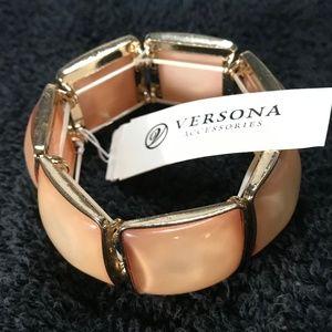 Large Boho Stretch Bracelet Peach Goldtone NWT